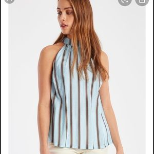 Ichi sleeveless blouse blue striped bow
